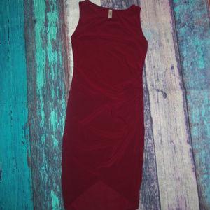 Take Me Out Burgundy Ruched Bodycon Midi Dress M